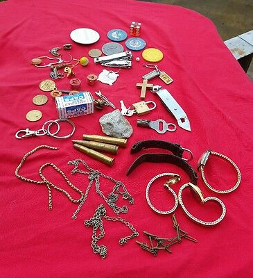 Mixed Lot 2 - Old Stuff Jewelry Military Coins Jack Knife, Tools Miscellaneous
