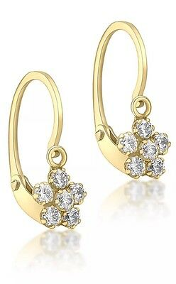 9ct Yellow Solid Gold Mini Cz Flower Earrings UK + FREE Gift