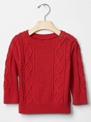 0057d7541edb GAP BABY BOYS Size 3-6 Months NWT Red Cable Knit Long-Sleeved Cotton ...