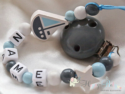 Personalised Wooden Dummy Clip/Chain for Boy * GREY BOAT * Baby Boy Gift