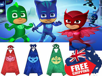 PJ masks Gekko owlette catboy Double Layer Cape & Mask Costume Sets !