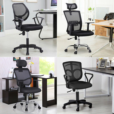 Ergonomic Mesh Computer Office Chair Desk Task Midback Task Black w/ Padded Base