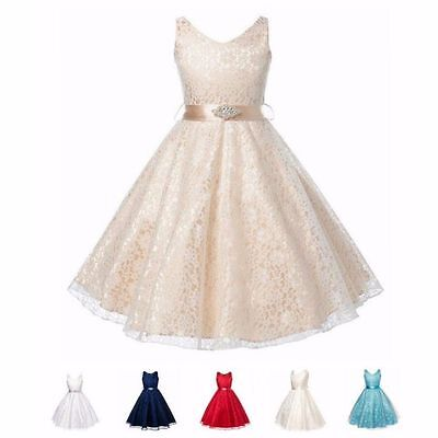 Girls XMAS Party Flower Formal Wedding Bridesmaid Pageant Prom Christening Dress