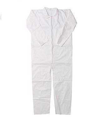 WHITE COVERALL  and ELASTIC WRIST AND ANKLE, TYVEK