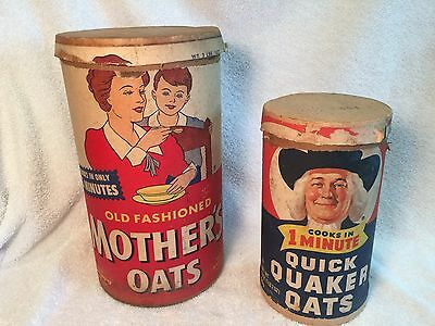 2 Vintage Quick Mother's Oats  Containers Canisters
