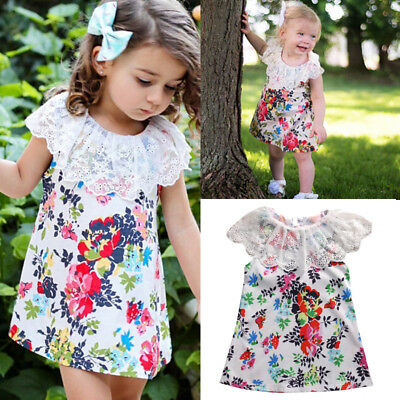 Kid Baby Girl Toddler Lace Floral Princess Party Wedding Sleeveless Tutu Dresses