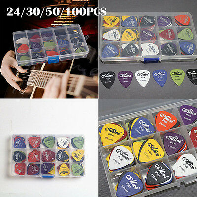 24-100x Acoustic Electric Guitar Picks Plectrum Various 6 thickness Pick Box HL7