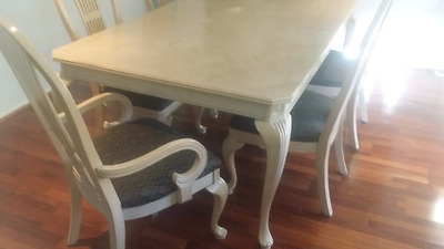 Table (extend to 8) and 6 Chairs - French Provincial
