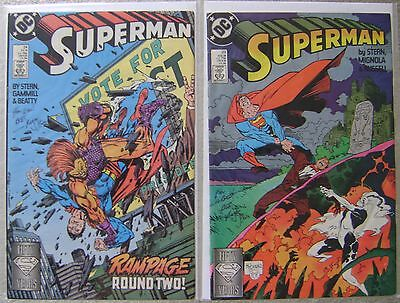 Superman #23-24 Signed By Roger Stern Dc Comics Copper Age 1988 Fn To Vf
