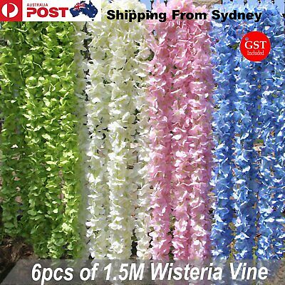 6x 1.5M Artificial Silk Azalea Flowers Vine Ivy Leaf Garden Wedding Party Colour