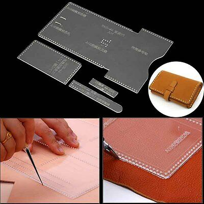DIY Clear Acrylic Leather Template Tool Set Kit For Wallet Leather Craft Pattern