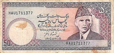 Pakistan  50 Rupees  ND. 1980's  Series HAU  circulated Banknote A30S