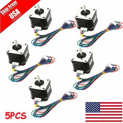 US Ship 5pcs OSM 65Ncm(92oz.in) Nema17 Bipolar Stepper Motor 4-lead Hobby CNC OY