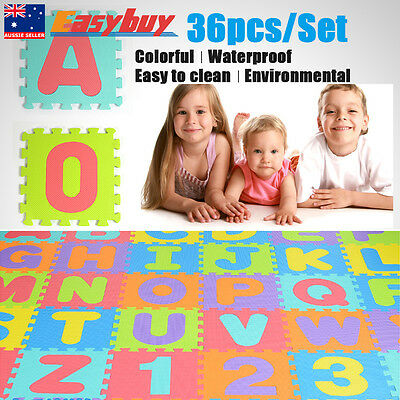36PCS Waterproof Baby Crawl Play Mat Kids Foam Puzzle Game Learning Letters ABC