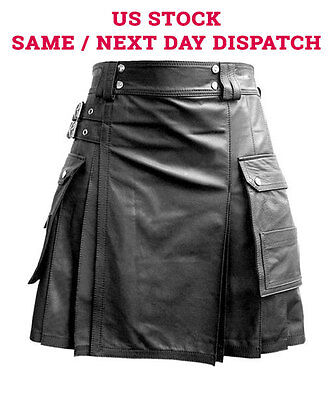 Mens Black Leather Gladiator Pleated Kilt FLAT FRONT TWIN CARGO POCKETS US STOCK