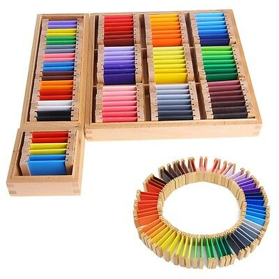 Kids Sensorial Material Wooden Learning Color Tablet Box 1/2/3 Preschool Toy