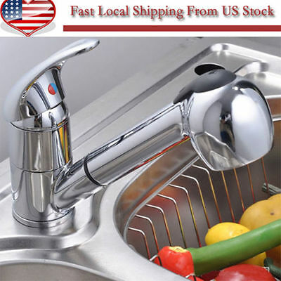 NEW Single Lever Swivel Spout Kitchen Faucet Chrome Pull-Out Spray Mixer Tap@K~~