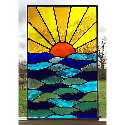 Handmade Stained Glass Window Door Panel Sunset Sea Commissioned made to order