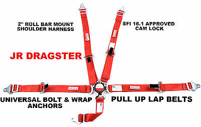 Jr Dragster Harness Sfi 16.1 5 Point Cam Lock Belt Flame Red 30 Colors To Choose