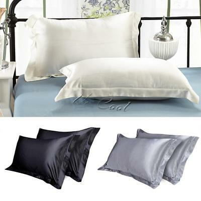 2pcs 100% Satin Silk Pillow Cases Cushion Covers Housewife Grey Black Plain