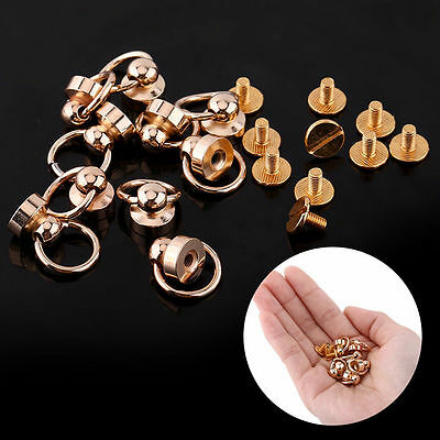 (10pcs) Nail Rivet Solid Brass Studs Screw Round Head Ring Button DIY Leather AM