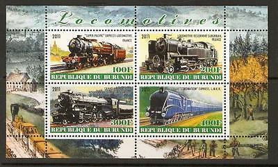 Burundi 2011 Locomotives(3) Mnh