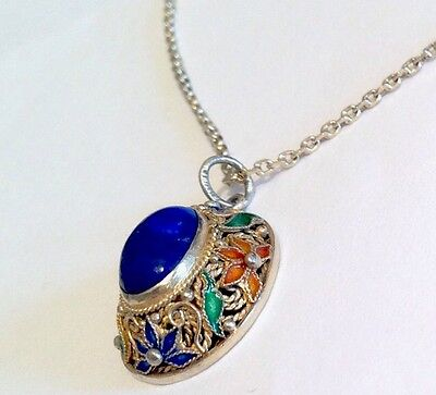 Vintage Gilded Gold On Silver Blue Agate & Enamel Pendant & Chain Necklace