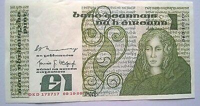 SUPERB 1980 Central Bank of Ireland Vintage Queen Meab £1/ Punt Pound Note