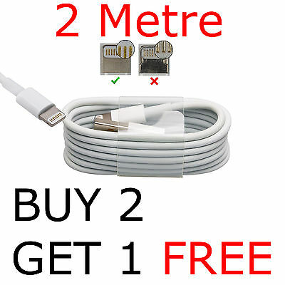 2M Apple iPhone 7 6 6S Plus SE 5/S iPad 4 Lightning To USB Charger Lead Cable