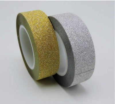 Silver Gold Glitter 15mm Washi Tape Christmas Party Decorative Paper