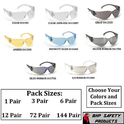 Pyramex Intruder Safety Glasses Ansi Z87+ Compliant Variety Packs And Colors