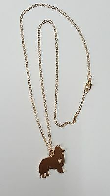 Sheltie Shetland Sheepdo Cute Necklace, Pendant, Gold Plated Chain 18""