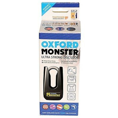 Oxford Monster Motorcycle Disc Lock Sold Secure Thatcham Approved Attack Tested