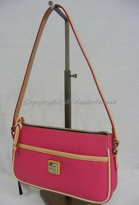 NWT Dooney & Bourke EN904 HP Lola Small Bag/Pouchette in Hot Pink Color Leather.