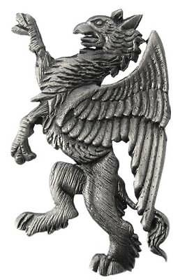 Tyler and Tyler Heraldic Griffin Pewter Lapel Pin - Grey