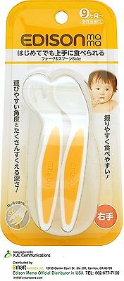 Edison Mama Special Design Spoon for Baby's Small Mouth and Noodle Falling Fork