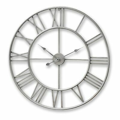Feature Piece Large Shabby Chic Nickel Skeleton Wall Clock 80cm Silver