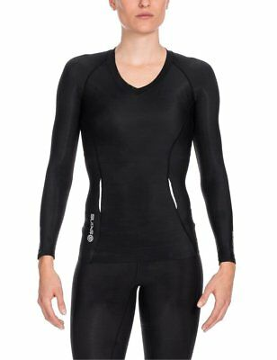 Skins A200 Women's Long Sleeve Compression Top Black Size Extra Small XS NWT