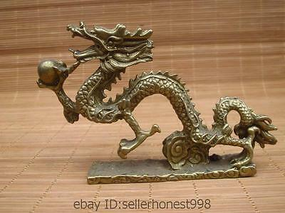 China Chinese Royal Brass Copper Bronze Feng Shui Auspicious Fly Dragon Statue