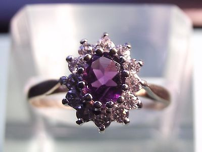 Pretty  9Ct Gold Amethyst And White Gemstone  Ring Size M½