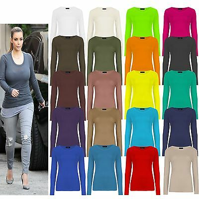 Womens Long Sleeve Stretch Plain Round Scoop Neck T Shirt Top Ladies Fitted Tee