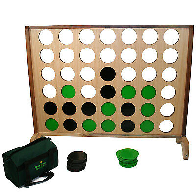 Garden Games Hardwood Big 4 Giant Connect - Four In A Row Strategy Garden Game