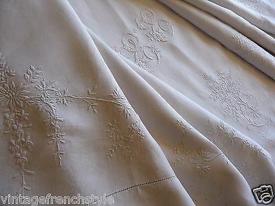 Delicate  Embroidery Antique French Linen Sheet  White Linen Sheet Pure Linen