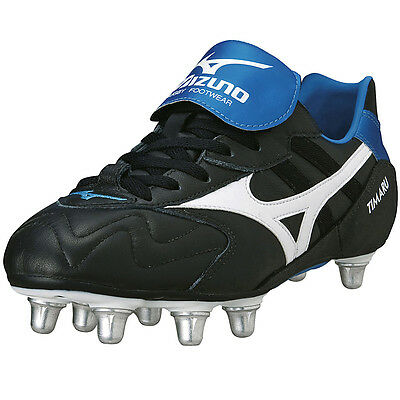 Mizuno Timaru Rugby Boots SG (Black/White/Blue) Leather Upper RRP £70