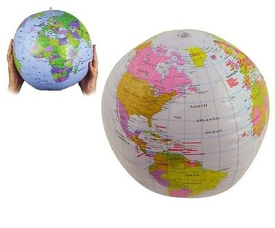 "16"" INFLATABLE GLOBE 40cm Atlas World Map Earth Ball Blow Up Educational Toy UK"