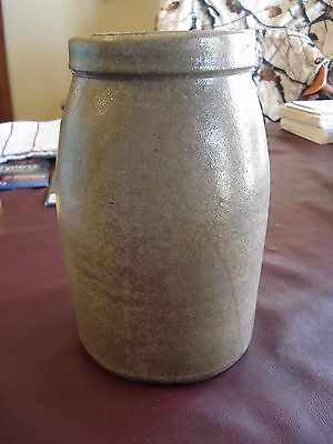 "Antique Primitive Salt Glaze Stoneware Crock / Jug 8"" tall x 5"" wide"