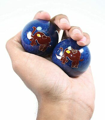 Elephant Cloisonne Finger Massage Exercise Iron Balls Hand Stress Relief Set