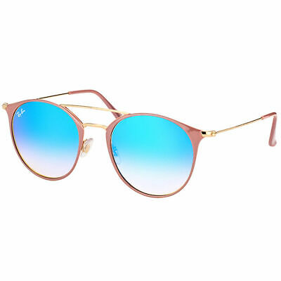 New Ray-Ban RB 3546 90118B 49mm Gold Beige Round Sunglasses Blue Flash Gradient