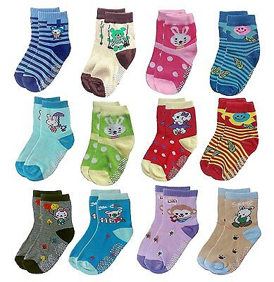Deluxe Non Skid,Anti Slip,Slipper Ankle Socks For Baby,Toddler,Kids,Boys,Girls