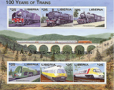 Liberia 2003 MNH 100 Years of Trains London to Berlin 6v M/S Railways Stamps